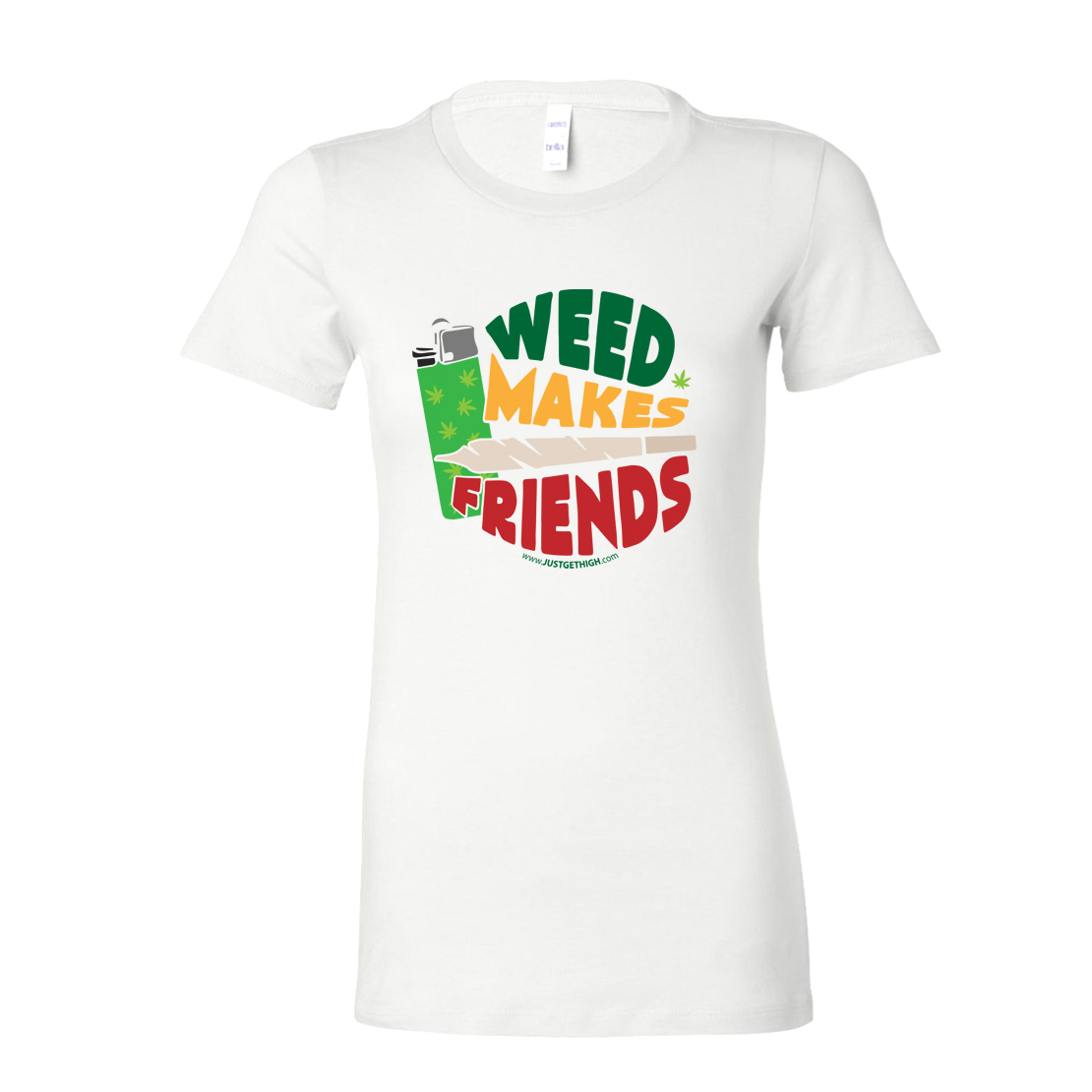 JUST GET HIGH_WEED MAKES FRIENDS_RASTA_WHITE