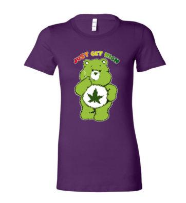 JUST GET HIGH_PURPLE cannabear shirt