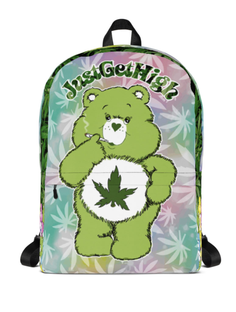 just get high_backpack_cannabear leaf_front