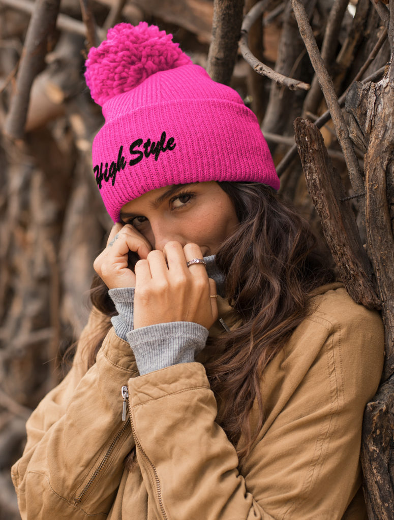 just get high_pom pom beanie_high style hot pink