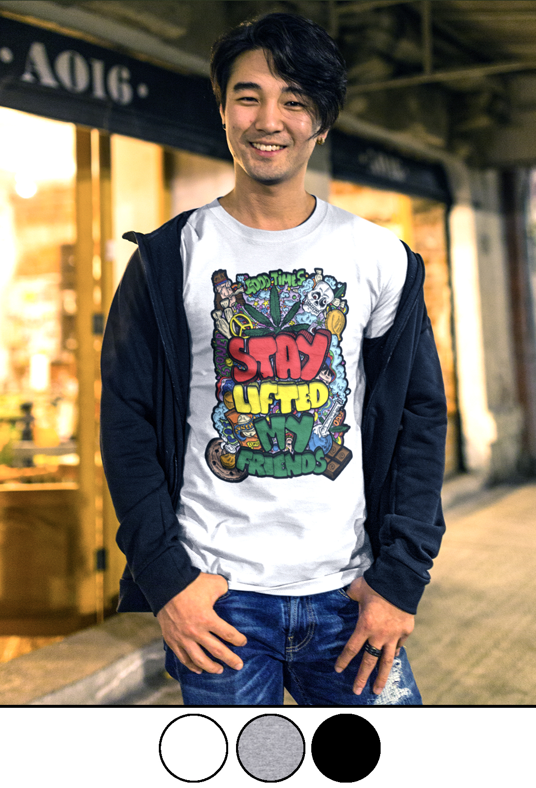 stay lifted my friends_just get high_shirt_model