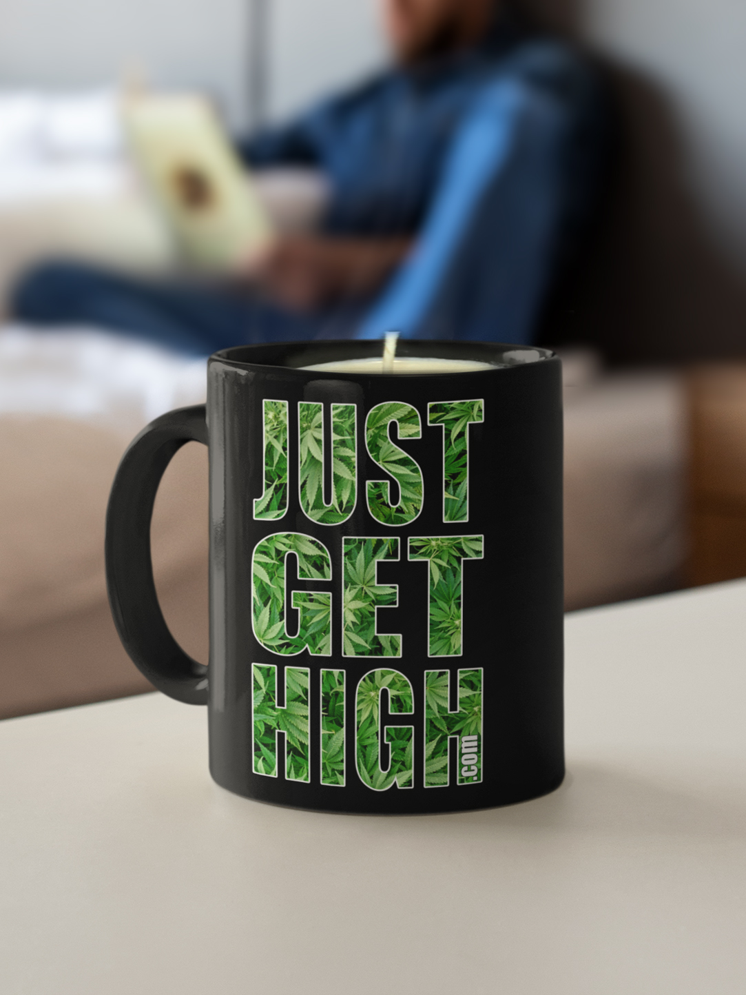 just get high_coffee mug_candle black