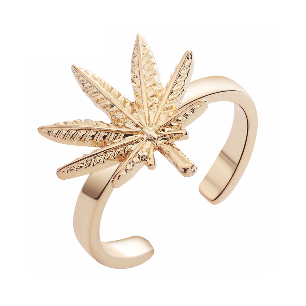 just get high_cannabis ring_gold_wide band