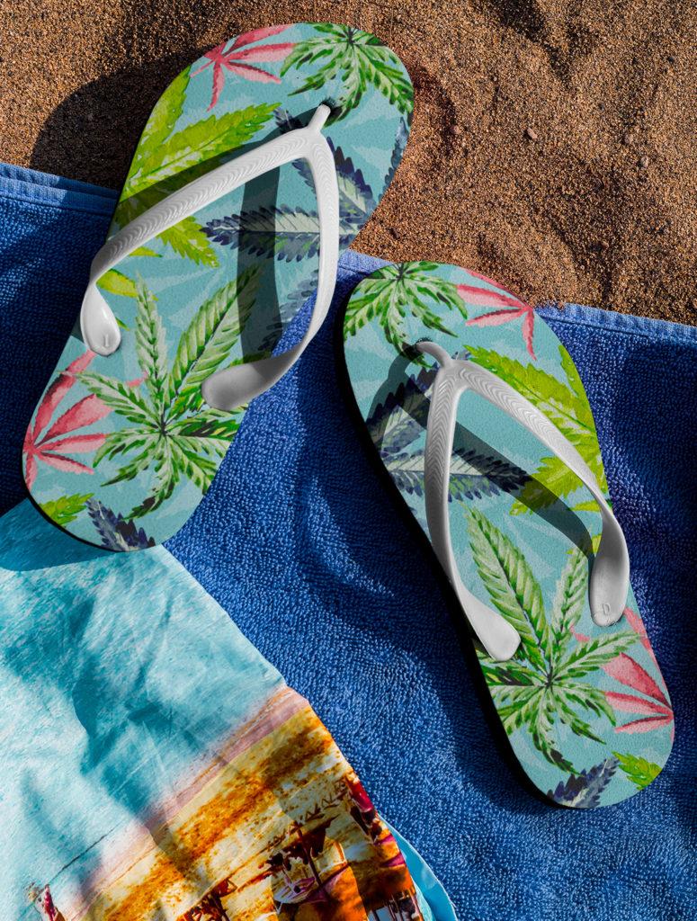 just get high_flip flops_tropical Haze