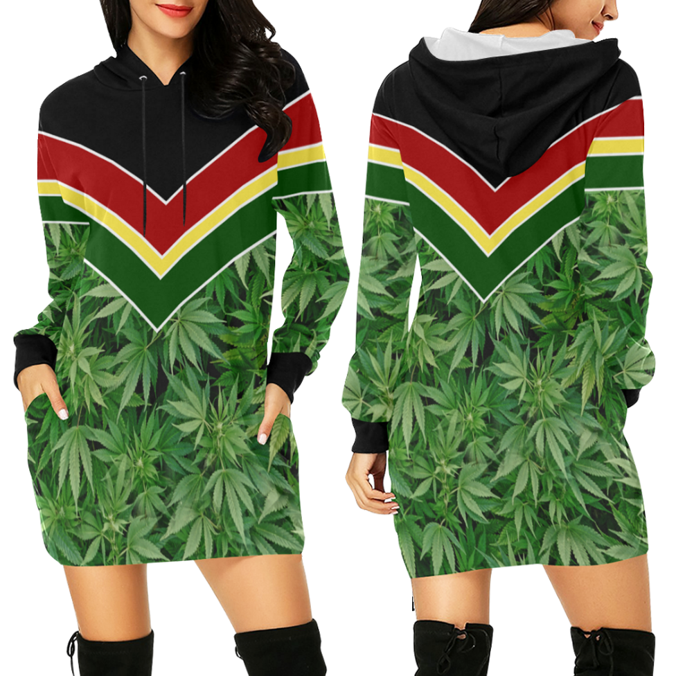 hoddie dress_just get high_rasta