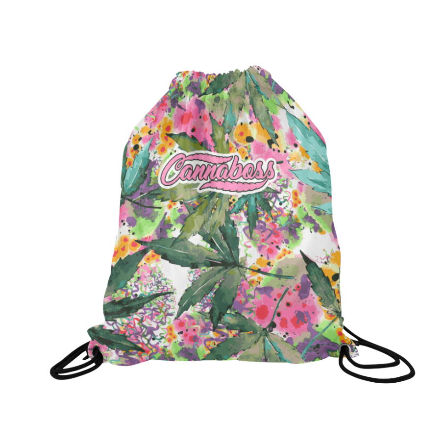 CANNABOSS_just get high_drawstring backpack_FRONT