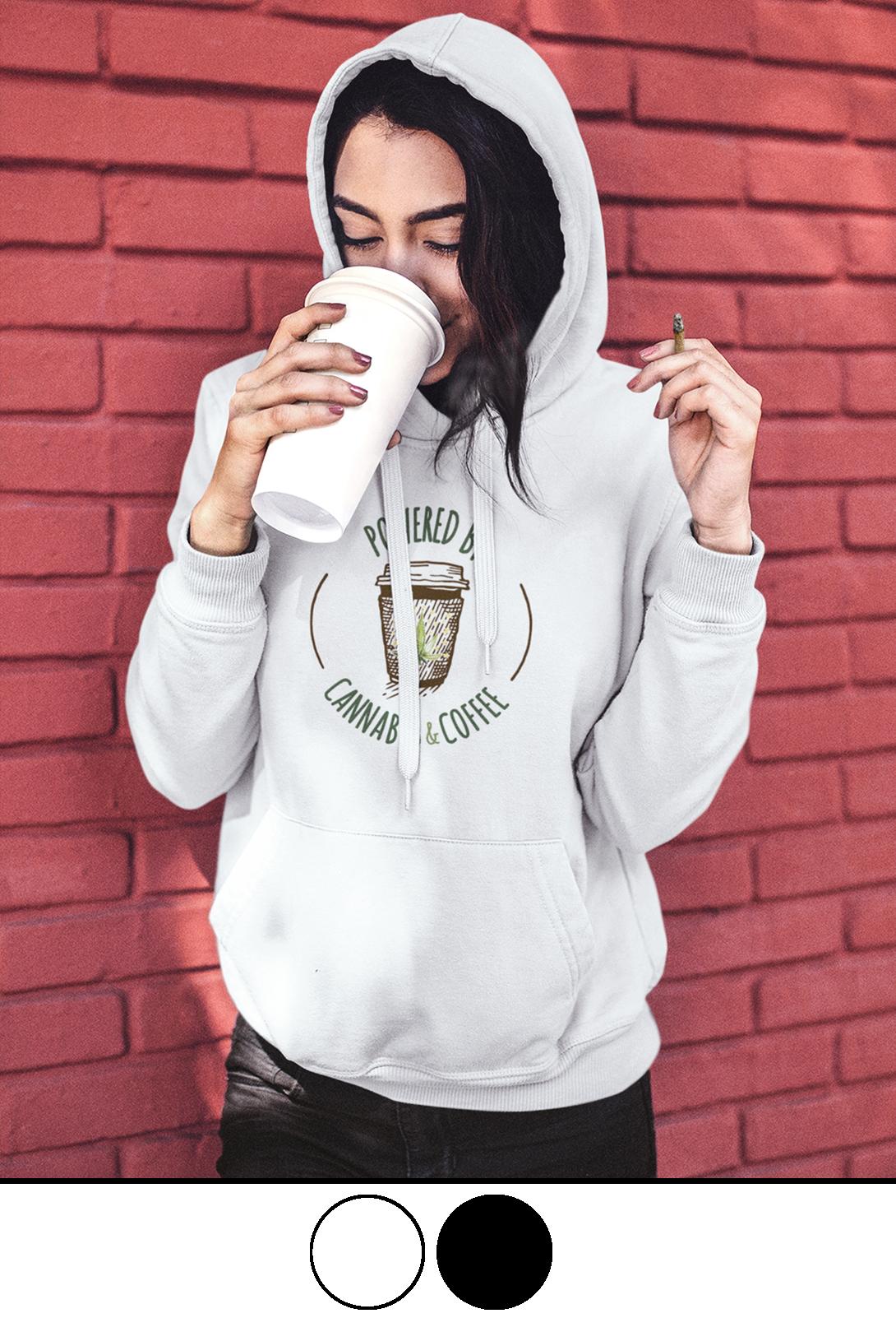 JUST GET HIGH_HIGHEST BITCH_COFFEE AND CANNABIS HOODIE