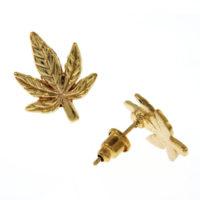 EARRINGS: GOLD CANNABIS LEAF ON CARD