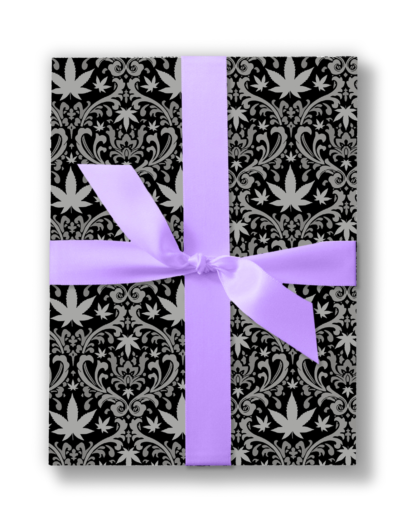 cannabis filagree_just get high_wedding wraping paper box_black