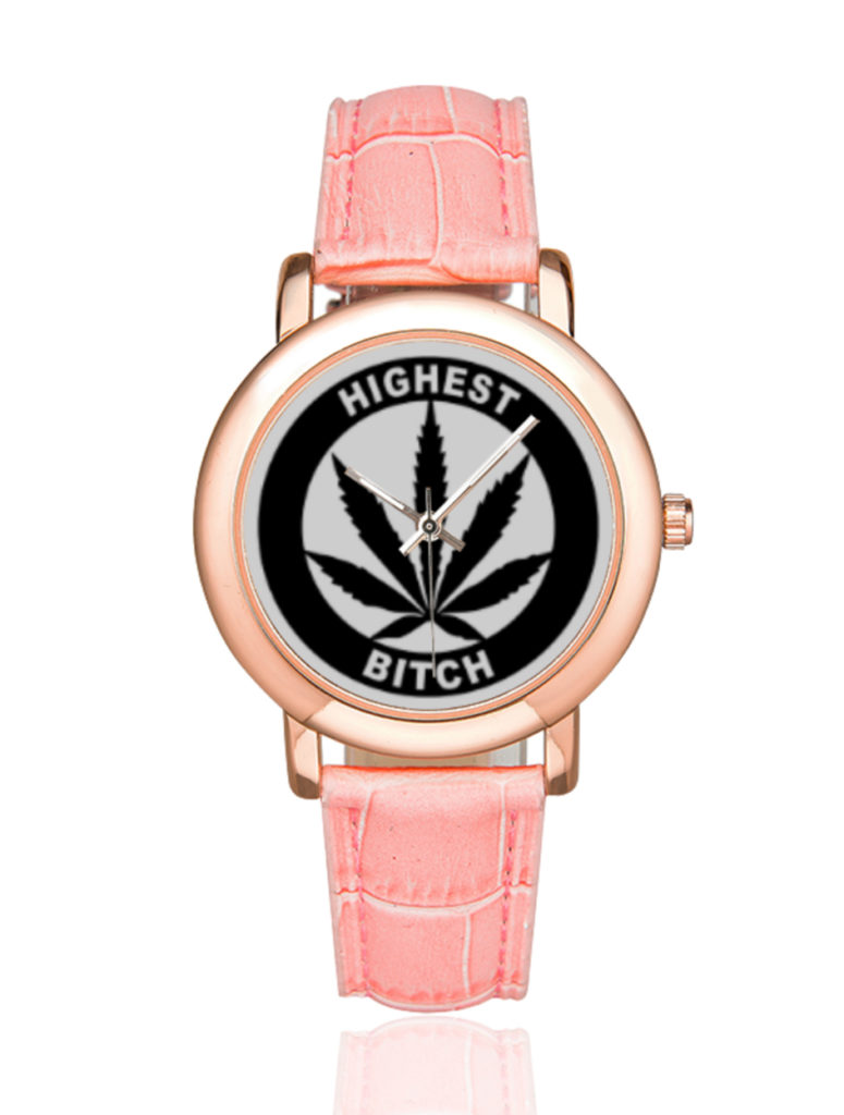 highest bitch_just get high_rose gold pink leather watch_web