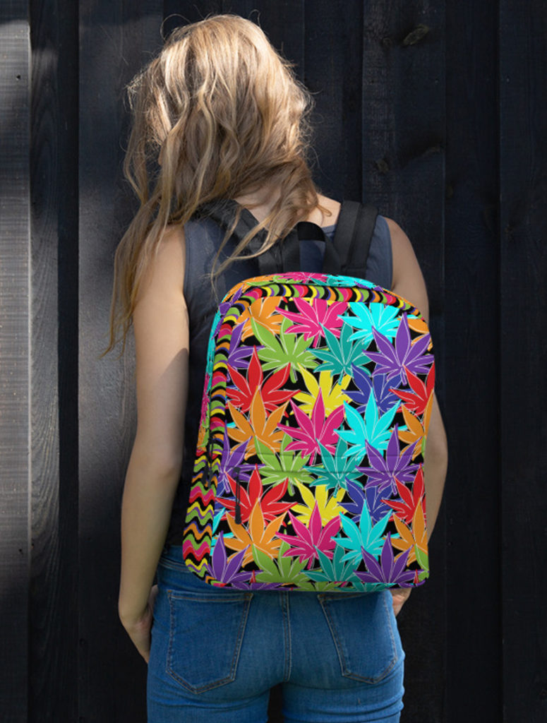 just get high_backpack_model_rainbow weed