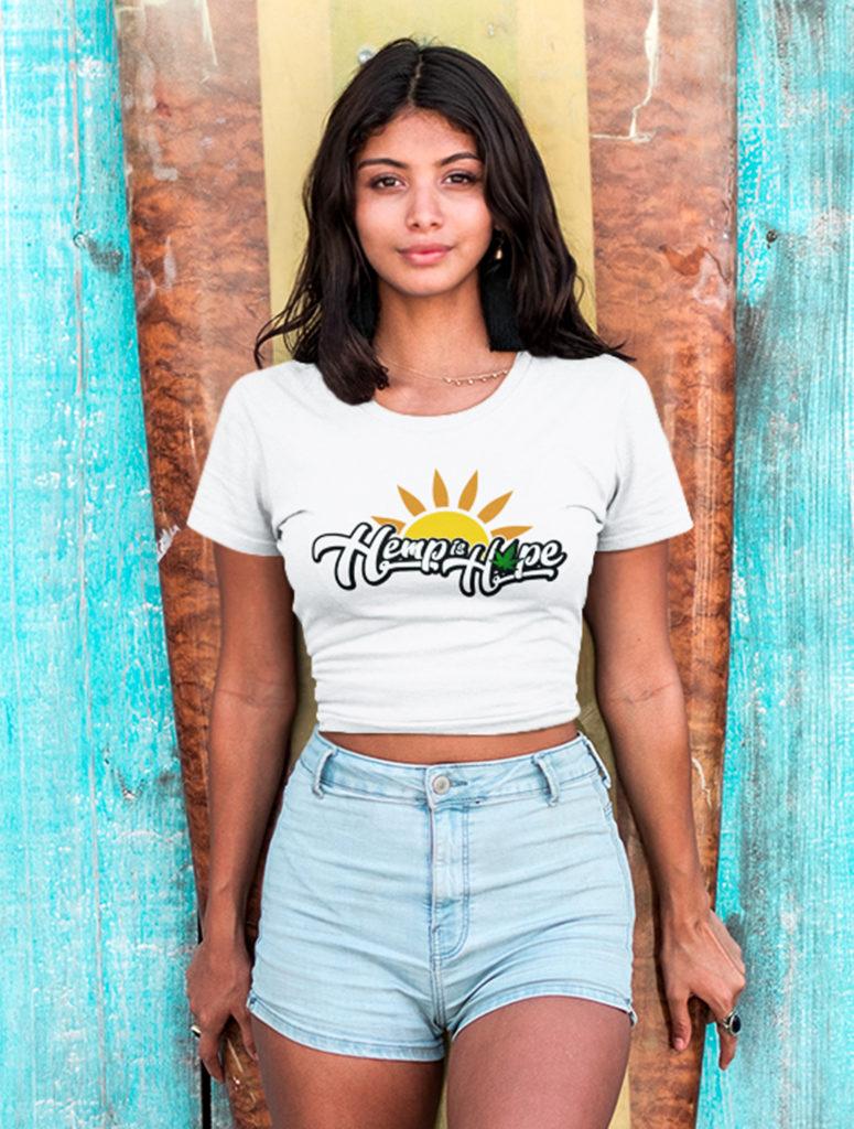 just get high_hemp is hope_shirt_surf girl_close up