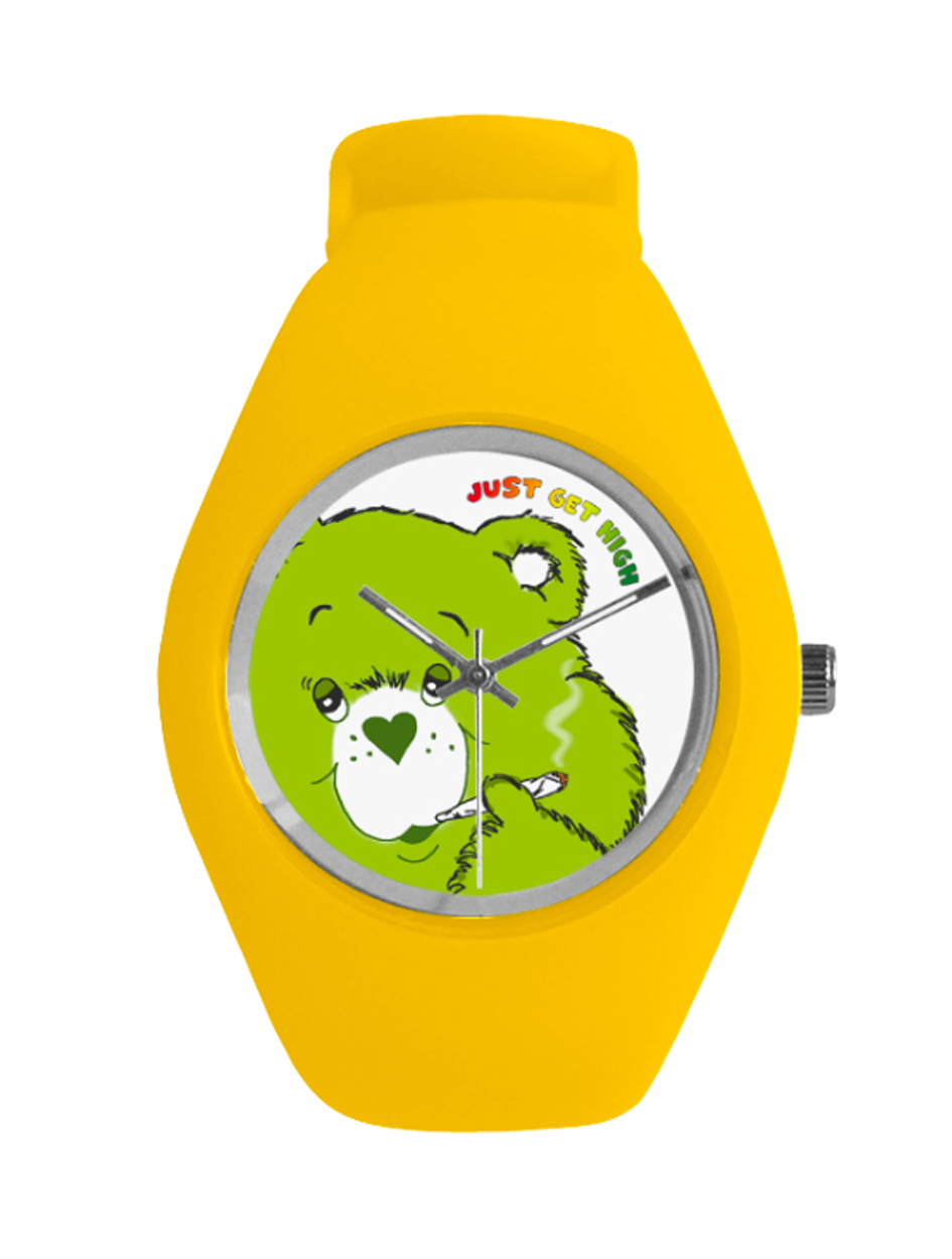 just get high_silicone watch_cannabear yellow_web a