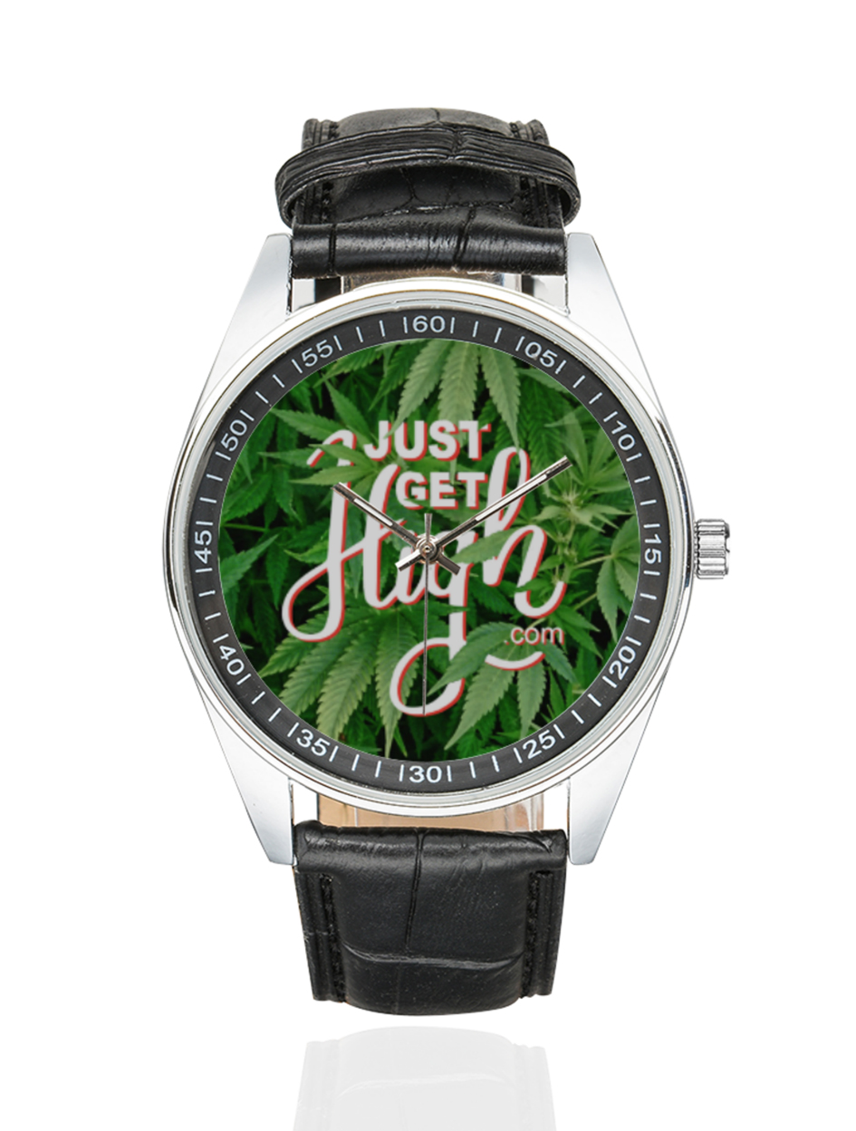 just get high_silver black leather watch_web