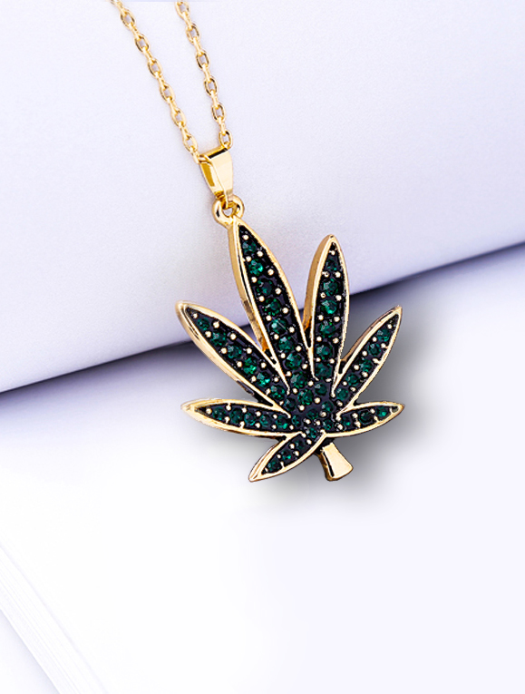 JUST GET HIGH_leaf necklace_green stones web