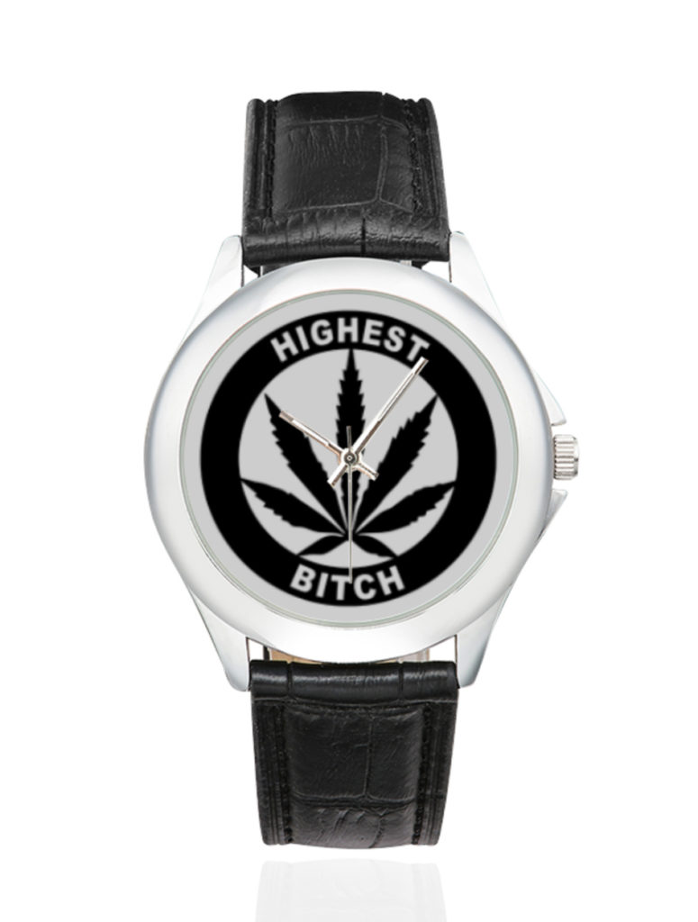 highest bitch_just get high_silver black leather watch_ web