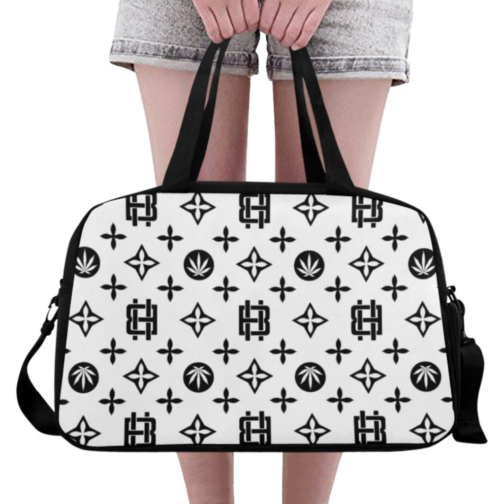 highest bitch_just get high_travel bag_white_front_model