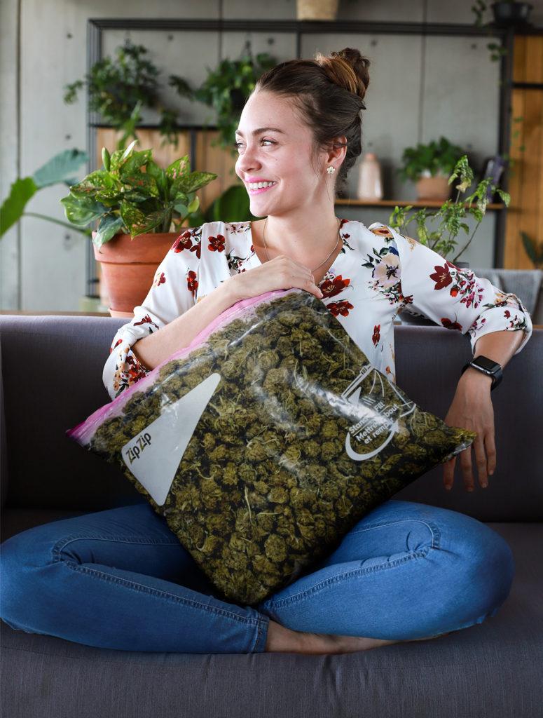 just get high_all over throw pillow_stash bag_zip zip