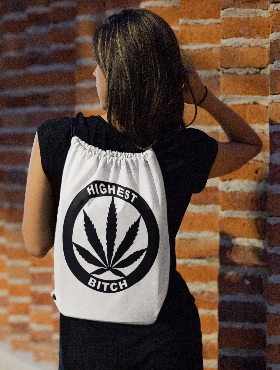 just get high_drawstring bag_highest bitch logo_gold