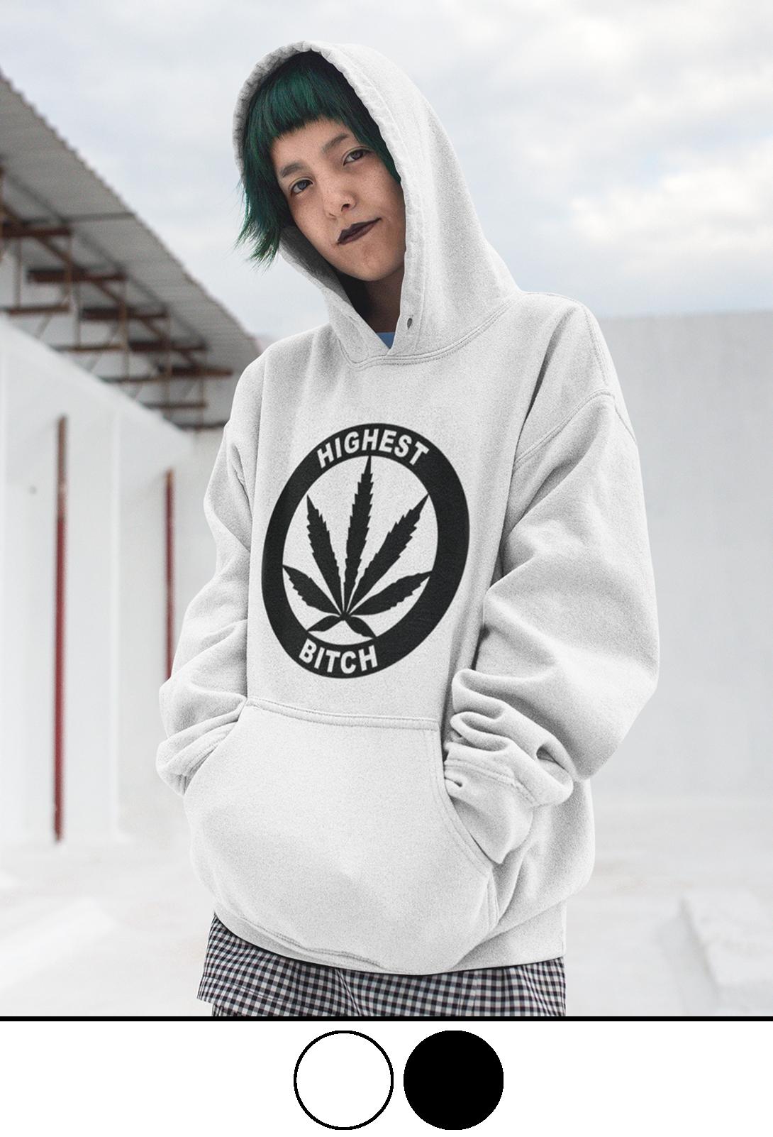just get high_highest bitch logo_fashion hoodie_model