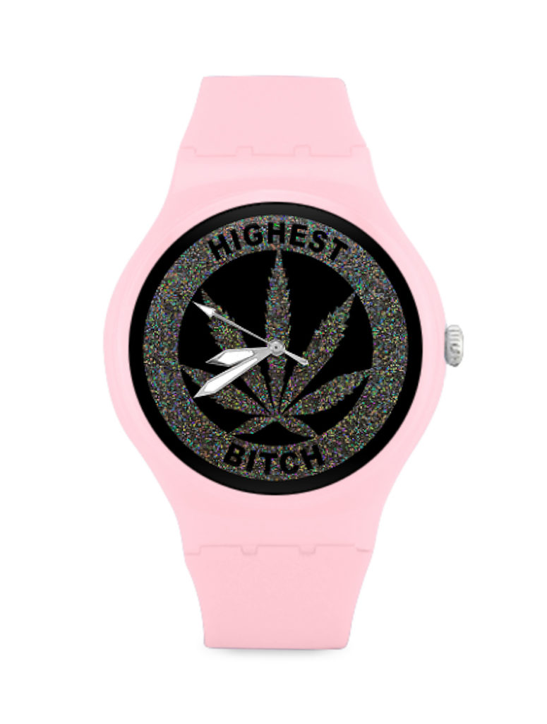 just get high_plastic watch_highest bitch_pink web