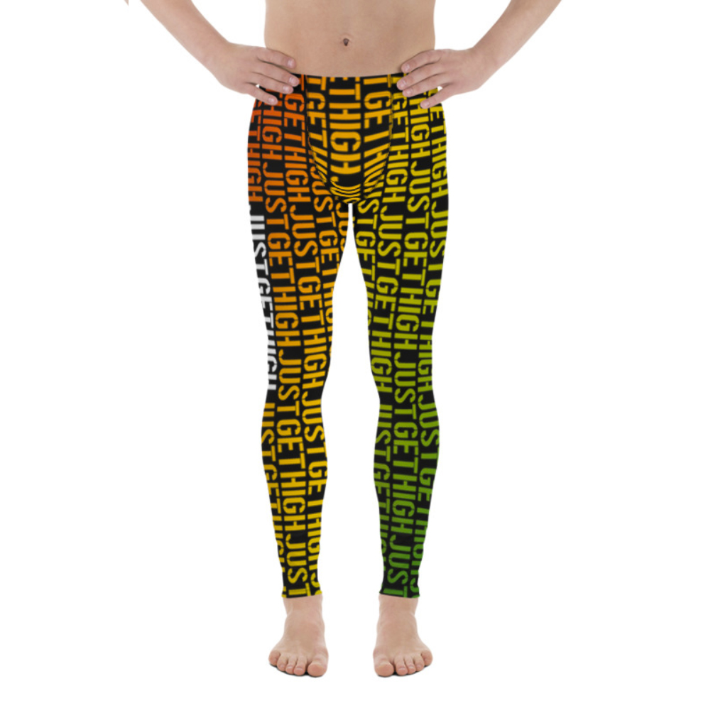 rasta jgh stencil_mens leggings_just get high_front
