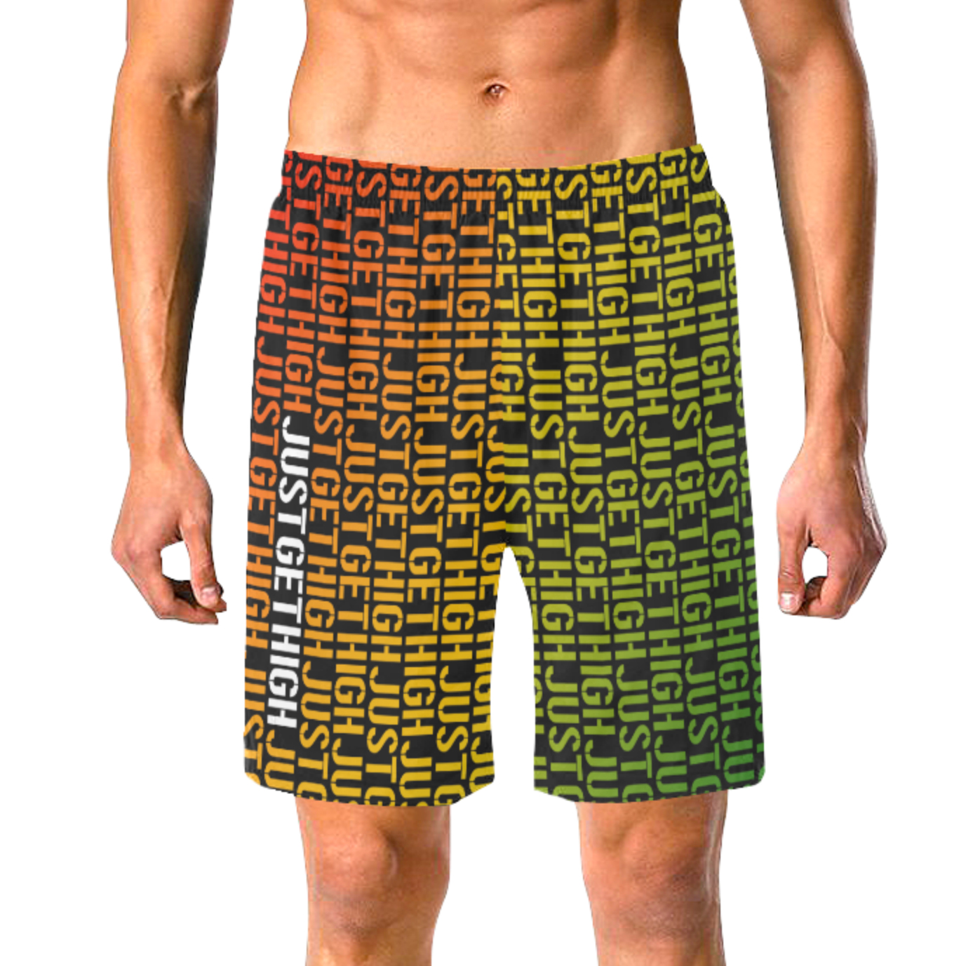 swim trunks_just get high_rasta stencil_front