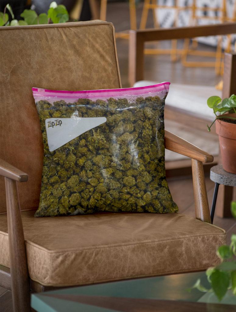 just get high_all over throw pillow_stash bag_zip zip_green_revised