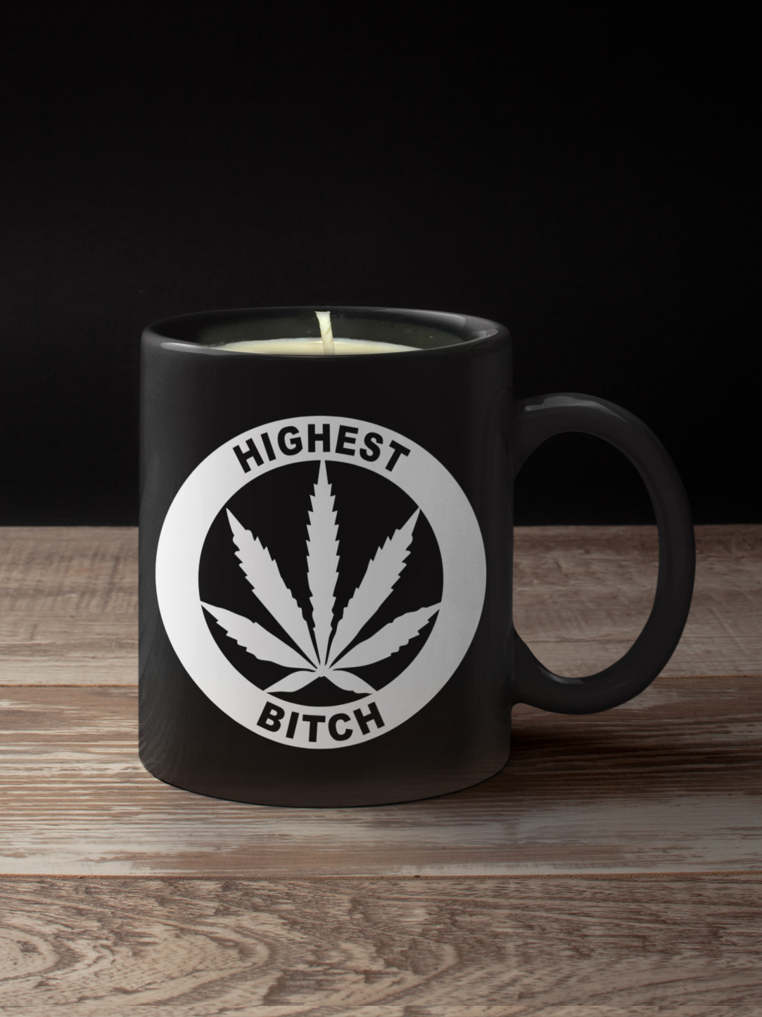 just get high_coffee mug_highest bitch_candle black