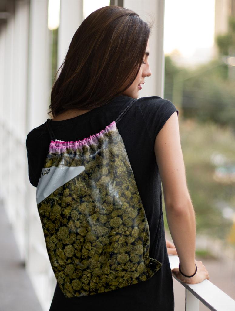 just get high_drawstring bag_stash green