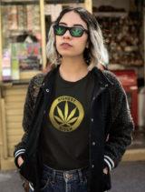 just get high_highest bitch_gold foil shirt