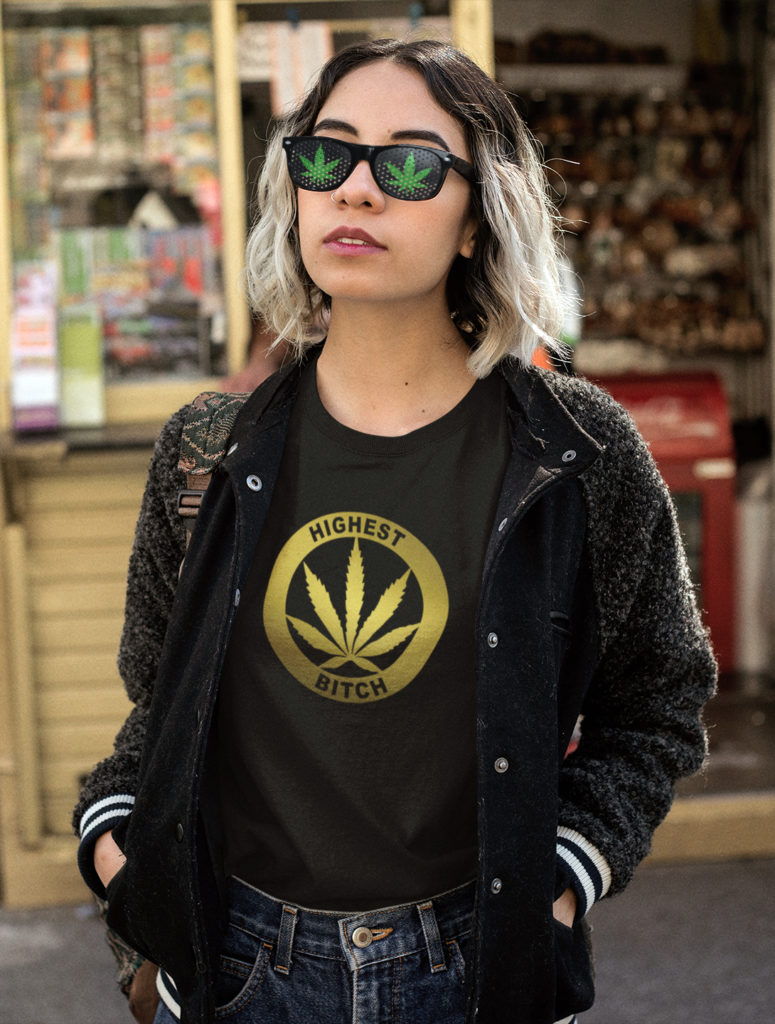 just get high_highest bitch_gold foil shirt