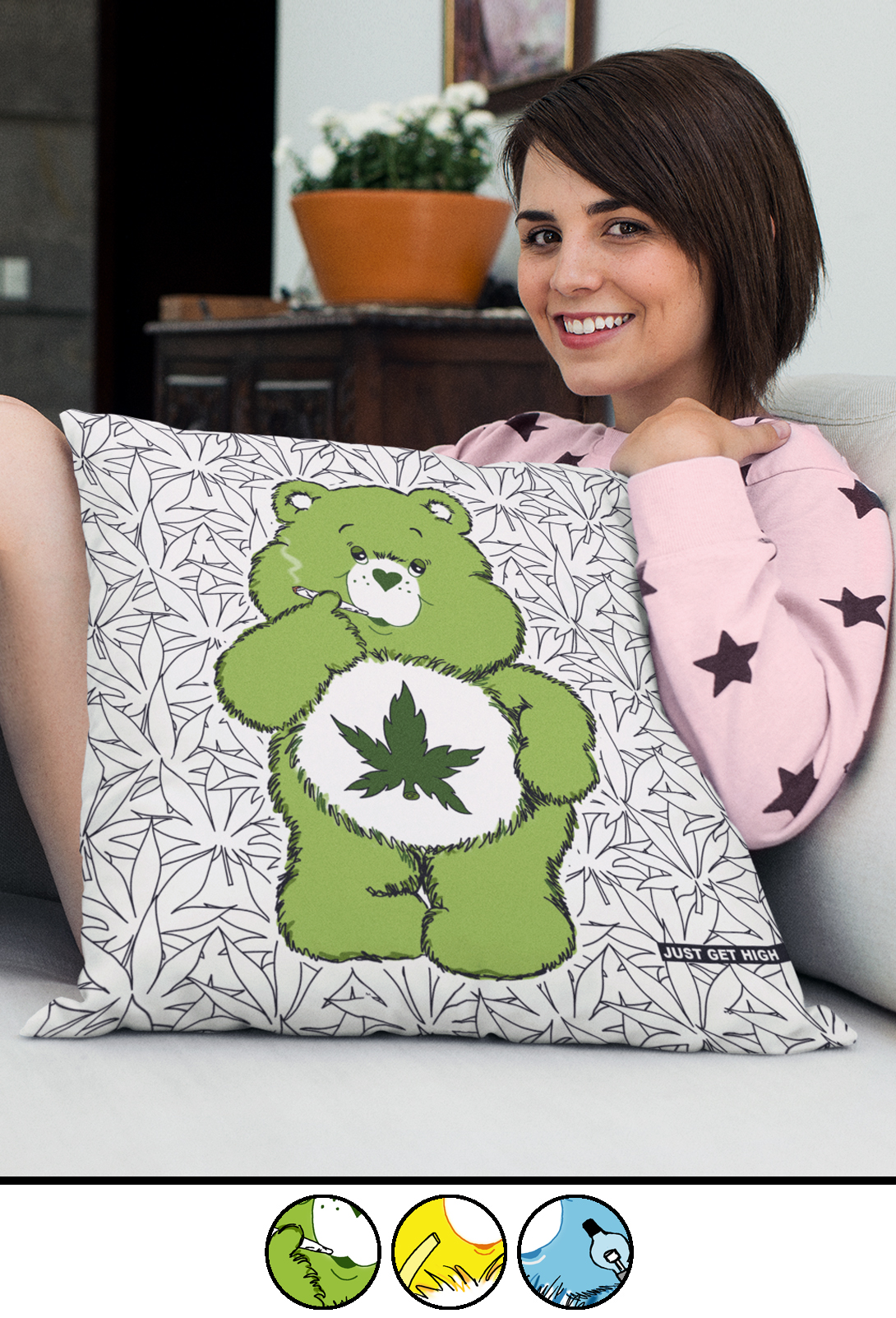 just get high_all over throw pillow_bear cannabear_20inch_colors