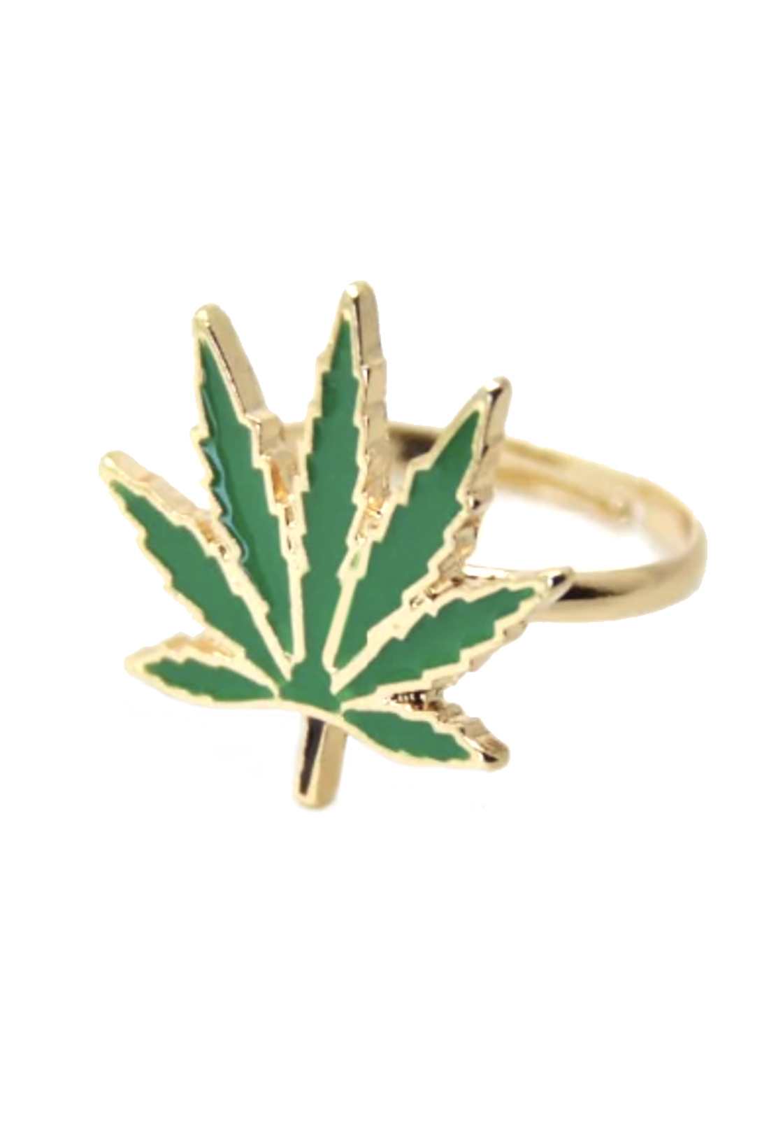 just get high_cannabis ring_gold and green