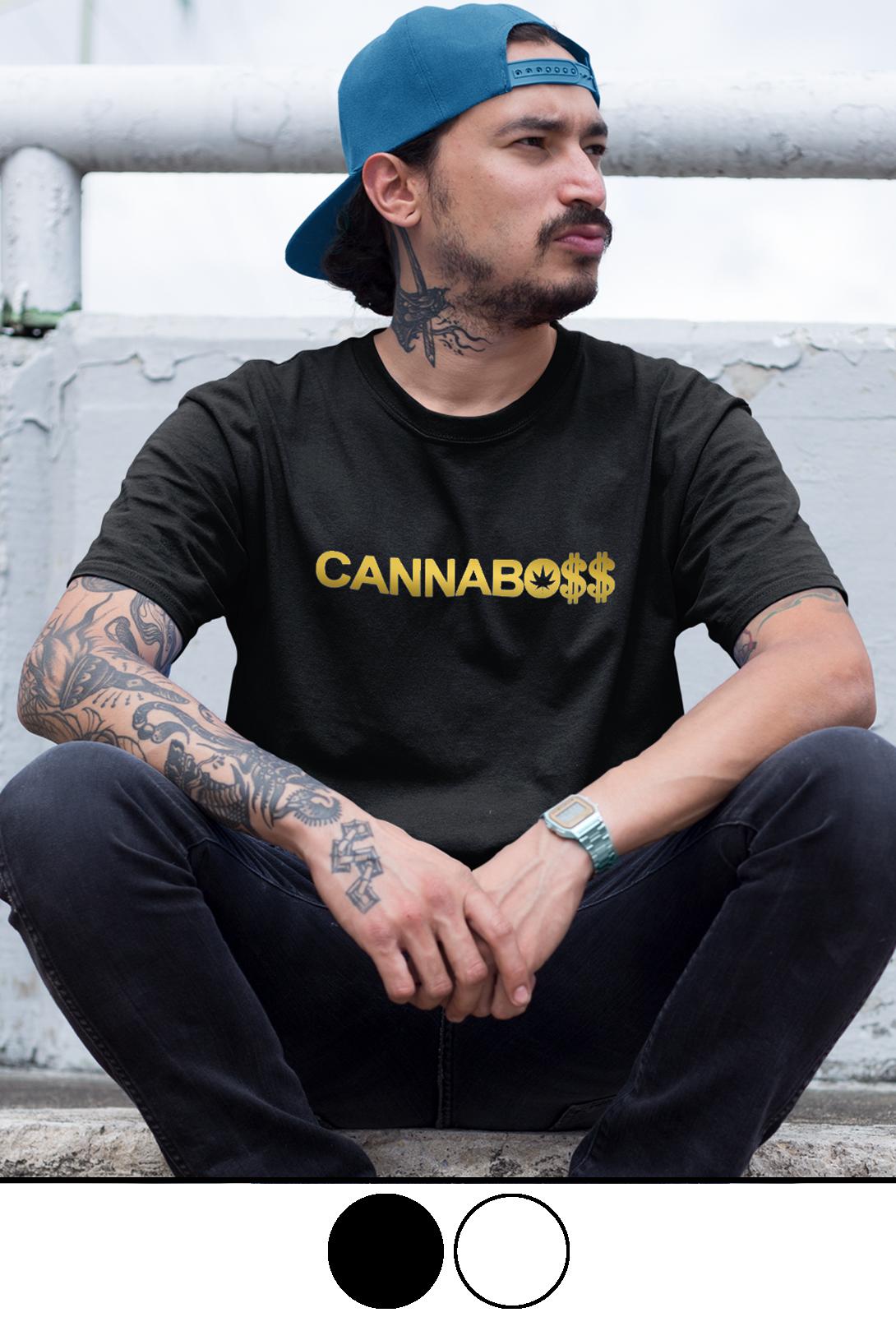 just get high_cannaboss_caps_shirt_gold foil_colors