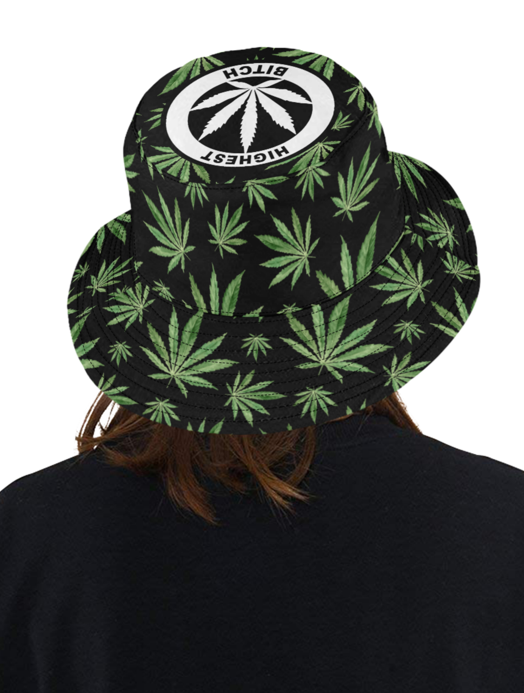 just get high_bucket hat_highest bitch_PAINTED LADIES_logo