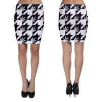 BODYCON SKIRT: HIGHEST BITCH • OVERSIZED HOUNDSTOOTH