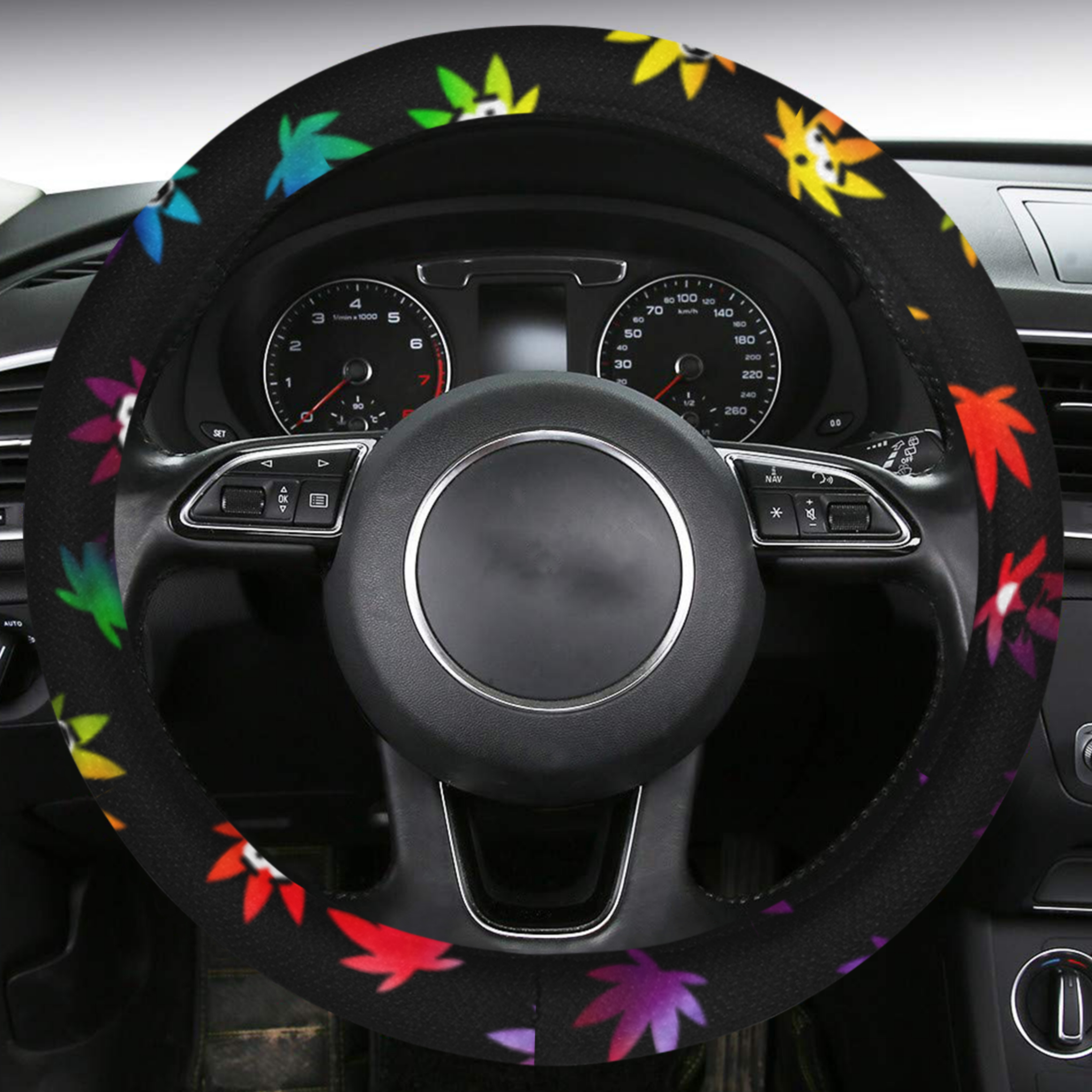 just get high_steering wheel cover_tye dye