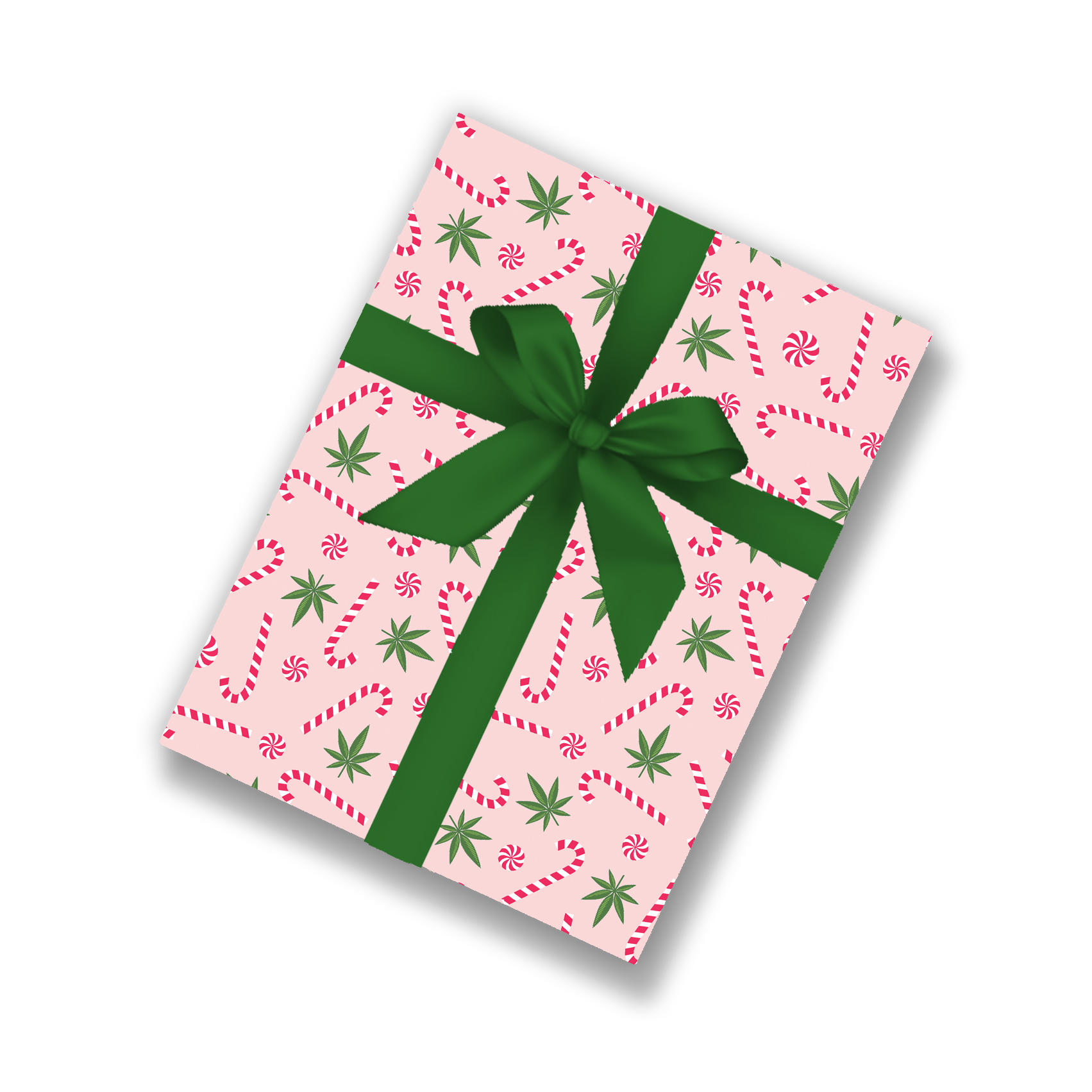 mock up_wrapping paper_just get high_cannabis and candy canes_pink_green bow