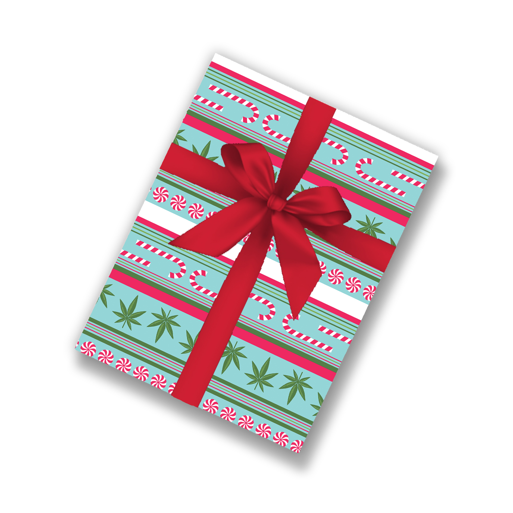 mock up_wrapping paper_just get high_cannabis and candy canes_stripe