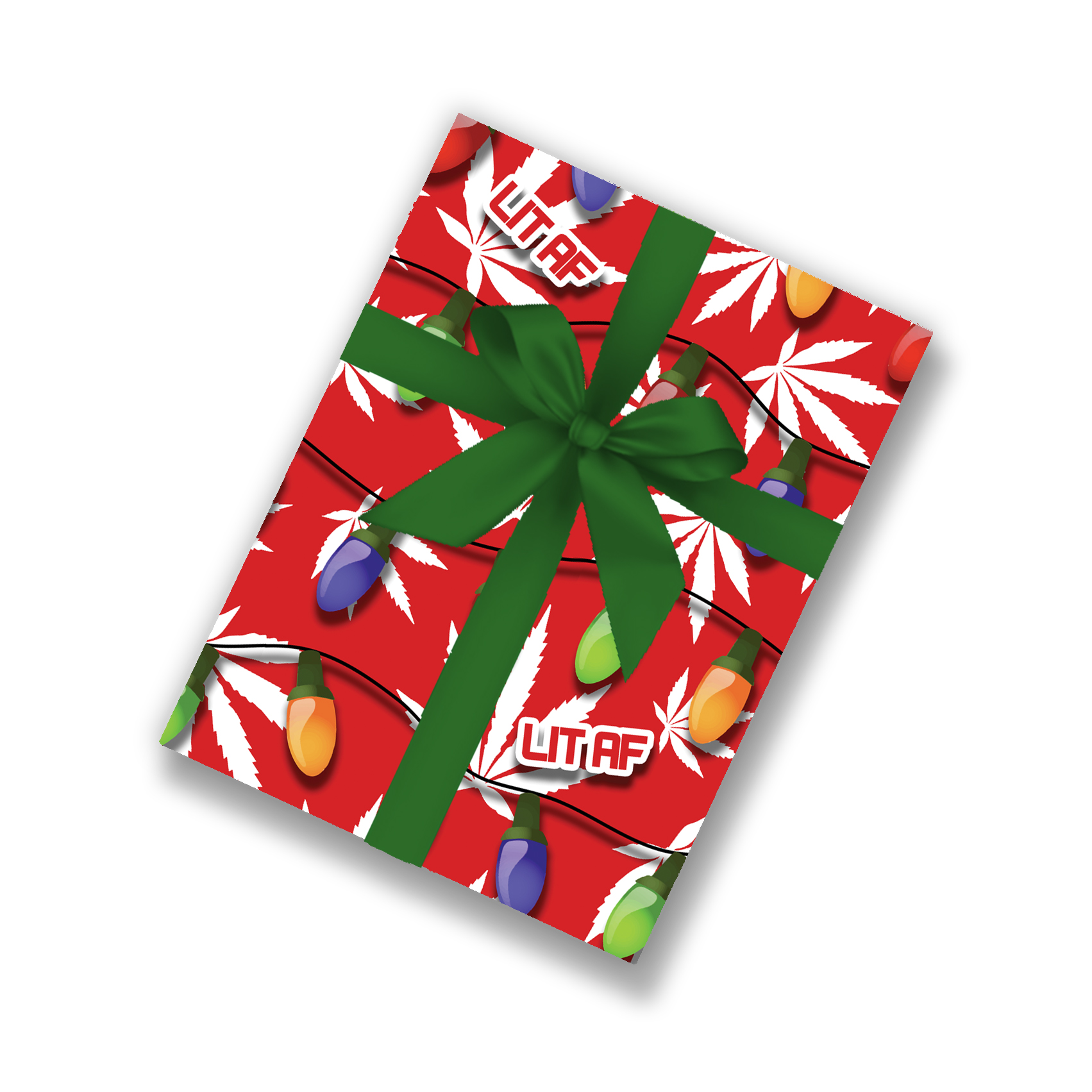 mock up_wrapping paper_just get high_leaf and lights_lit af