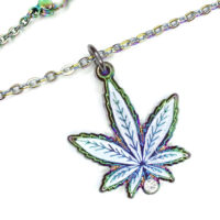 NECKLACES: ANODIZED RAINBOW GLITTER LEAF