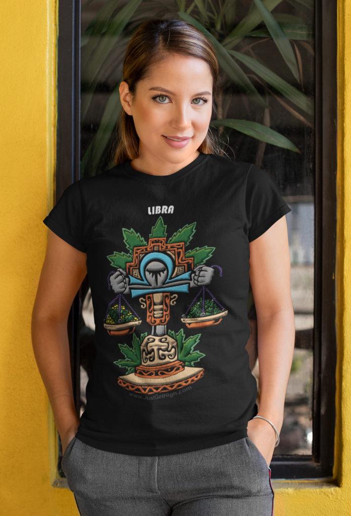 blazin zodiac_just get high_libra_shirt_womens