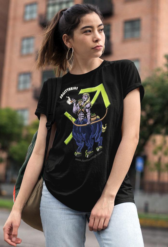 blazin zodiac_just get high_sagittarius_shirt_womens