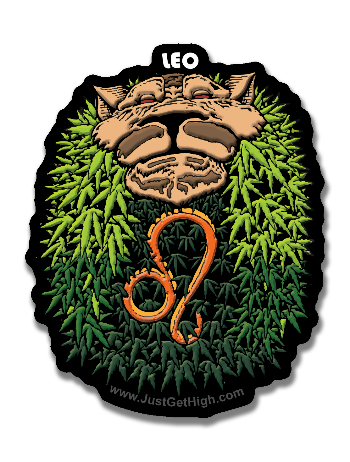just get high_ stickers_blazin zodiac_leo