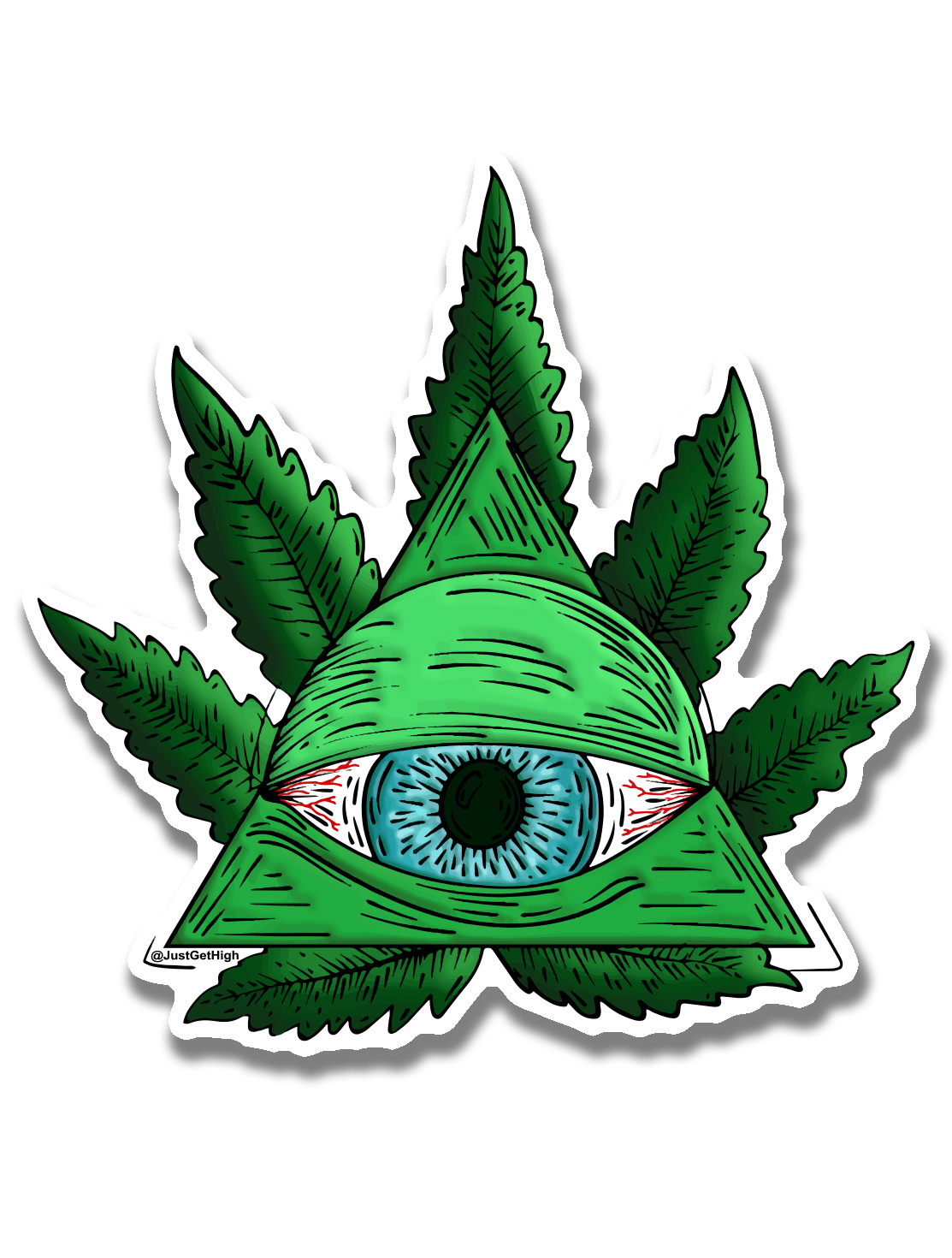 just get high_ stickers_third eye_illumanati