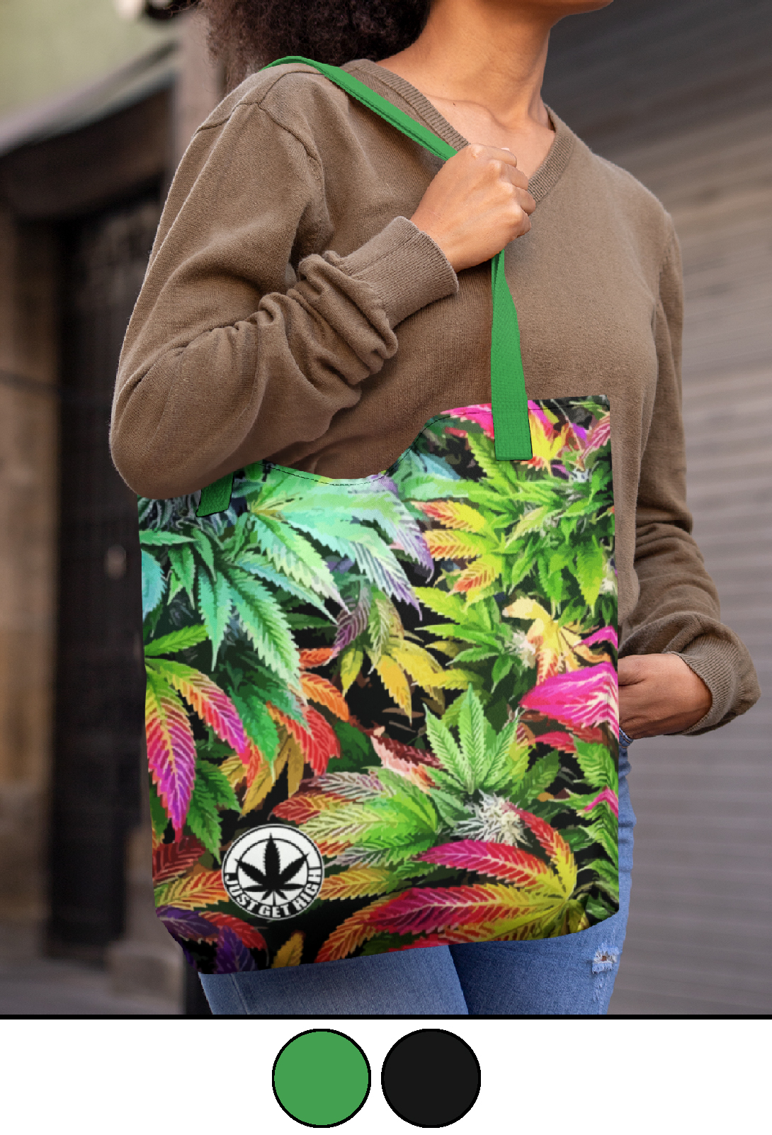 just get high_canvas tote_rainbow kush_green strap_colors