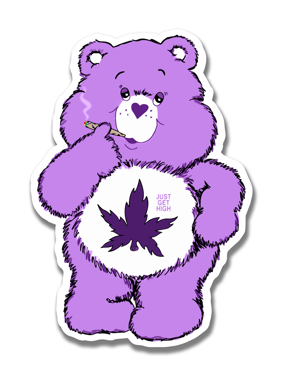 just get high_large sticker_cannabear_purps