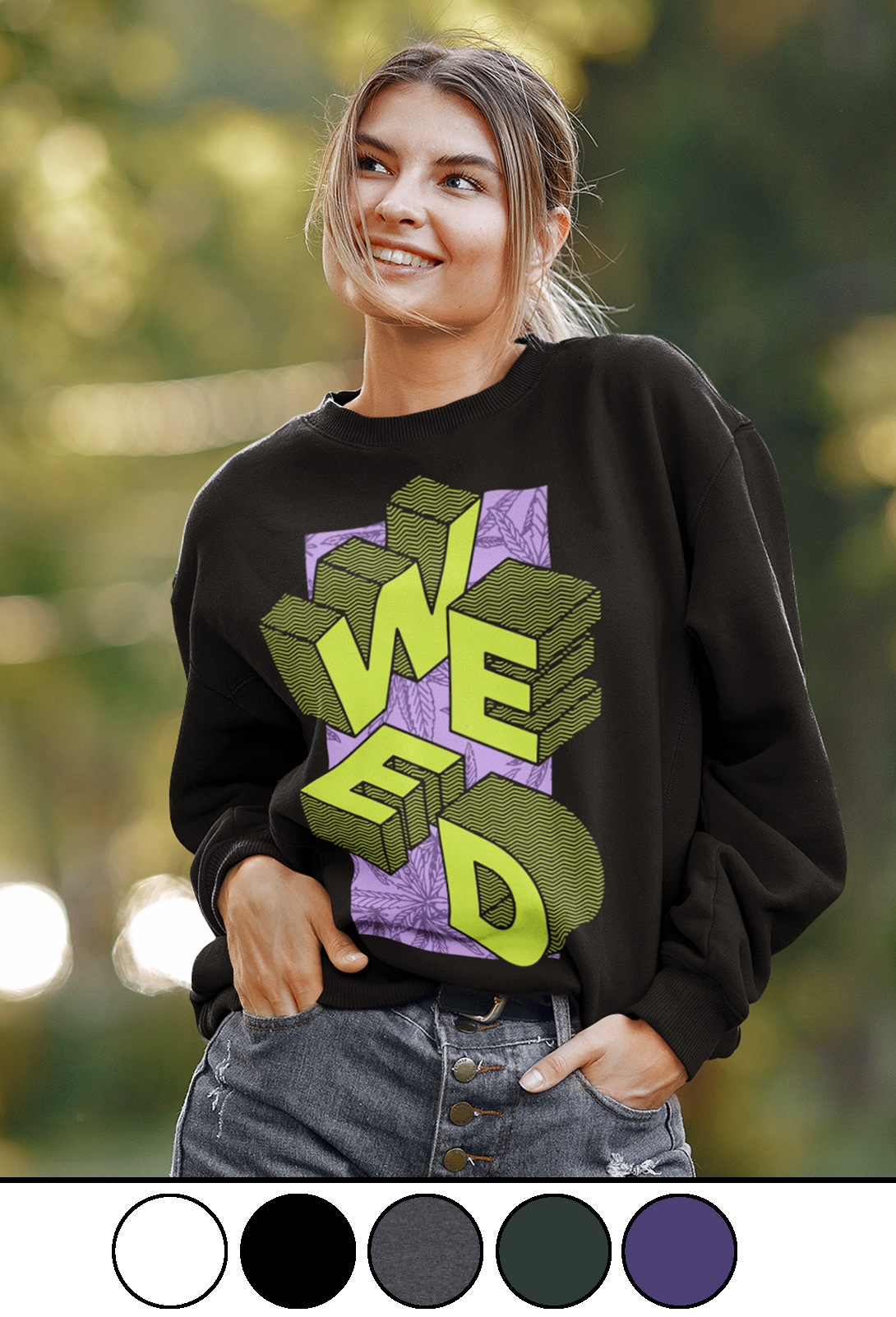 just get high_weed block_crew sweatshirt