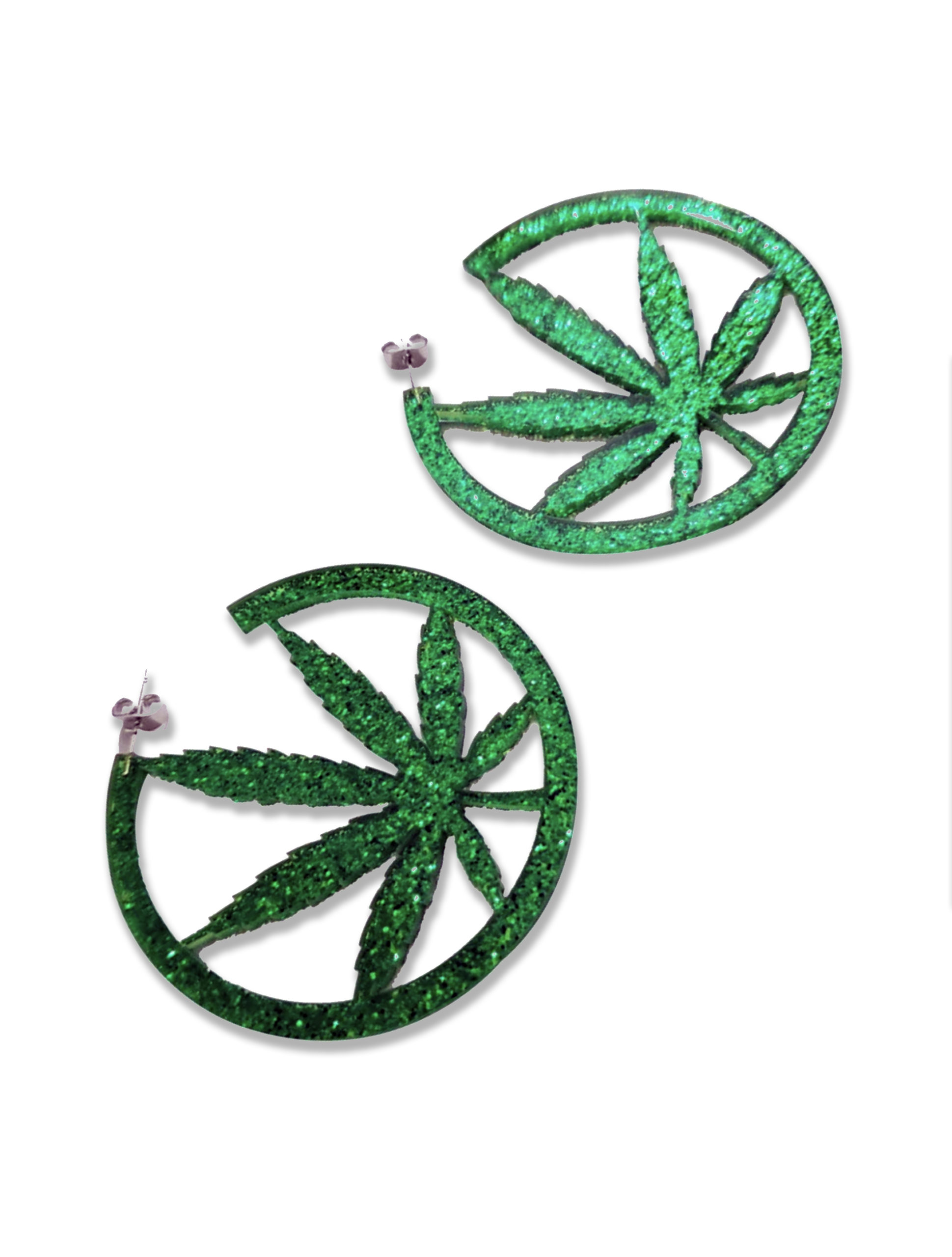 leaf_JUST GET HIGH_earrings acrylic